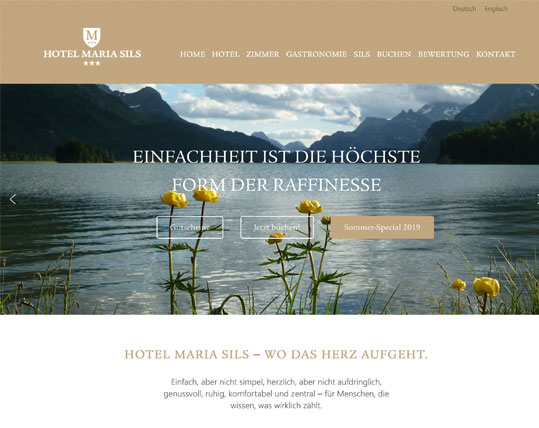 Website für Hotel Maria Sils