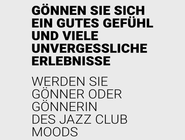 Gönner-Flyer für Jazz Club Moods